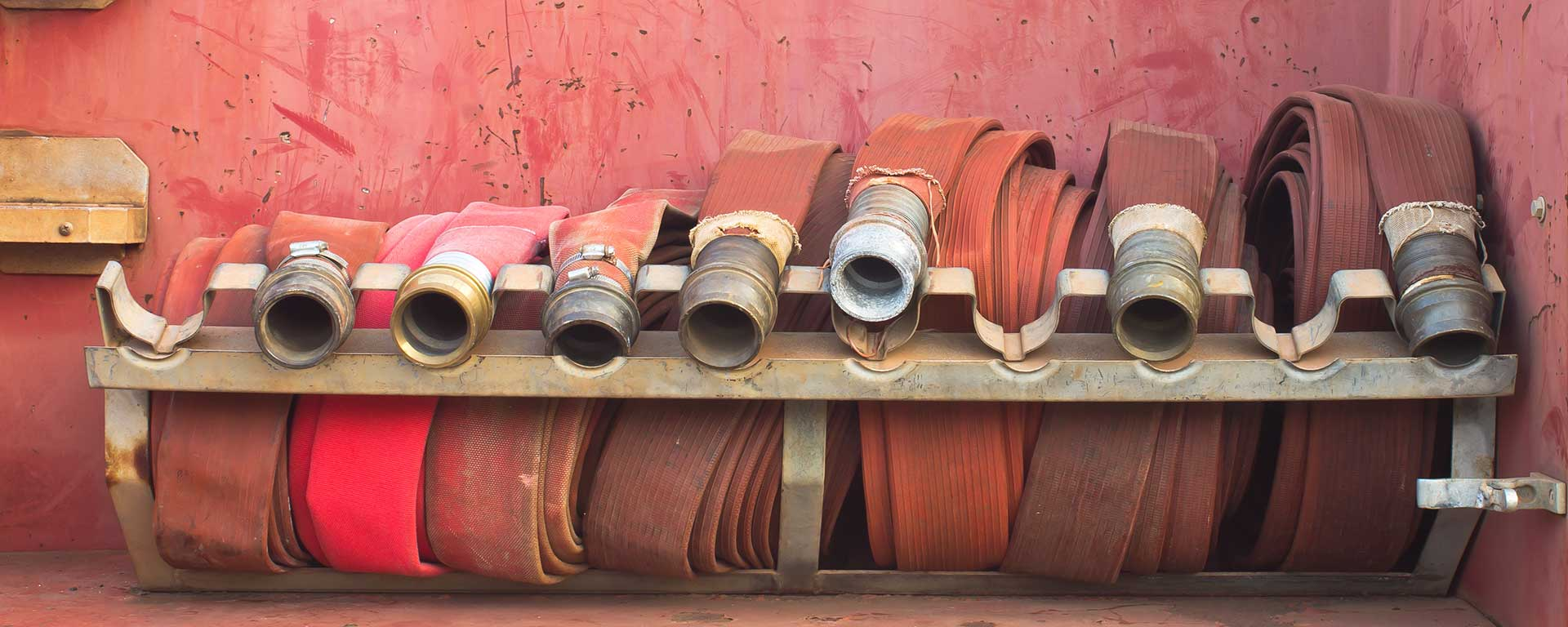 Fire Hoses lined up